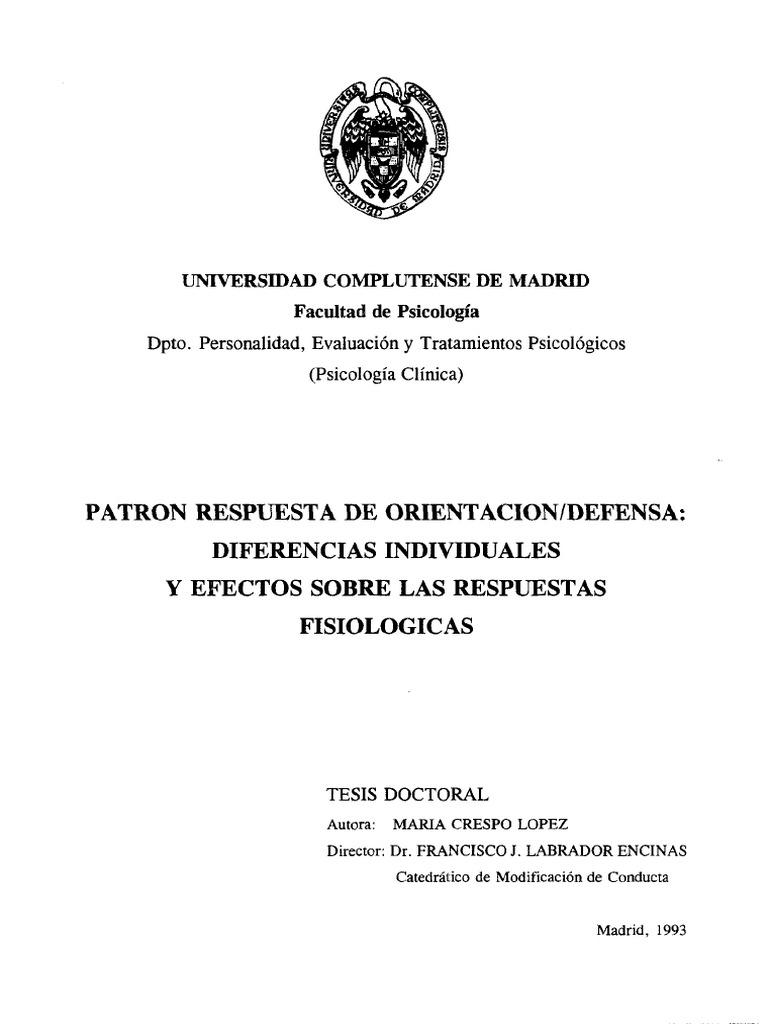 PATRON RESPUESTA DE ORIENTACION/DEFENSA: DIFERENCIAS INDIVIDUALES Y ...