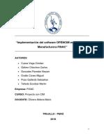Implementación Del Software OPENCIM en La Empresa Manufacturera FISAC