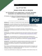 Ley 10783 Capacidad Civil Mujer