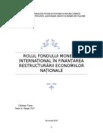 Rolul FMI În Restructurarea Economiilor Naționale