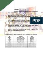 Cronograma de Actividades Del Carnaval 2019