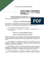 Lei Nº. 1785 2015 Parceleamento de Solo Urbano Do Município
