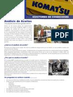 Material Servicios Komatsu Monitoreo Condiciones Programa Analisis Aceites Maquinara Pesada Beneficios