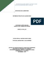 Informe de Practica de Laboratorio de Biotecnologis Alimentaria