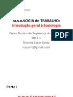 01 - SOCIOLOGIA Do TRABALHO - Introd Geral à Sociologia