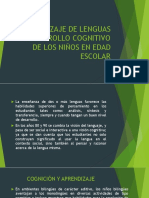 Aprendizaje de Lenguas y Desarrollo Cognitivo de Los Niños en Edad Escolar