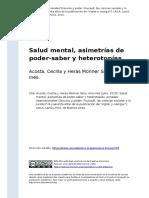Acosta, Cecilia y Heras Monner Sans, (..) (2015). Salud Mental, Asimetrias de Poder-saber y Heterotopias