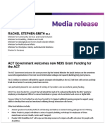 ACT Government Welcomes New NDIS Funding - Media Release