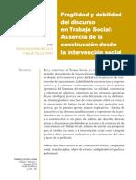 (Galeana de La O, Silvia) Fragilidad y Debilidad Del Discurso en Trabajo Social_ Ausencia de La Construcción Desde La Intervención Social