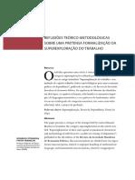 Reflexões teórico-metodológicas sobre uma pretensa formalização da superexploração do trabalho