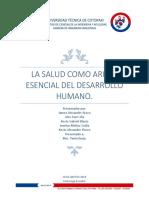 La salud como arista principal del desarrollo humano.