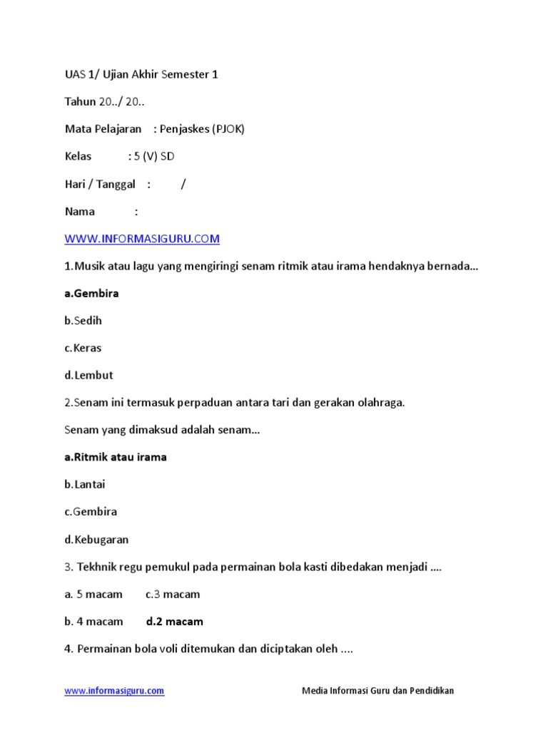 Soal Dan Kunci Jawaban Pjok Kelas 5