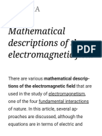 Mathematical Descriptions of the Electromagnetic Field