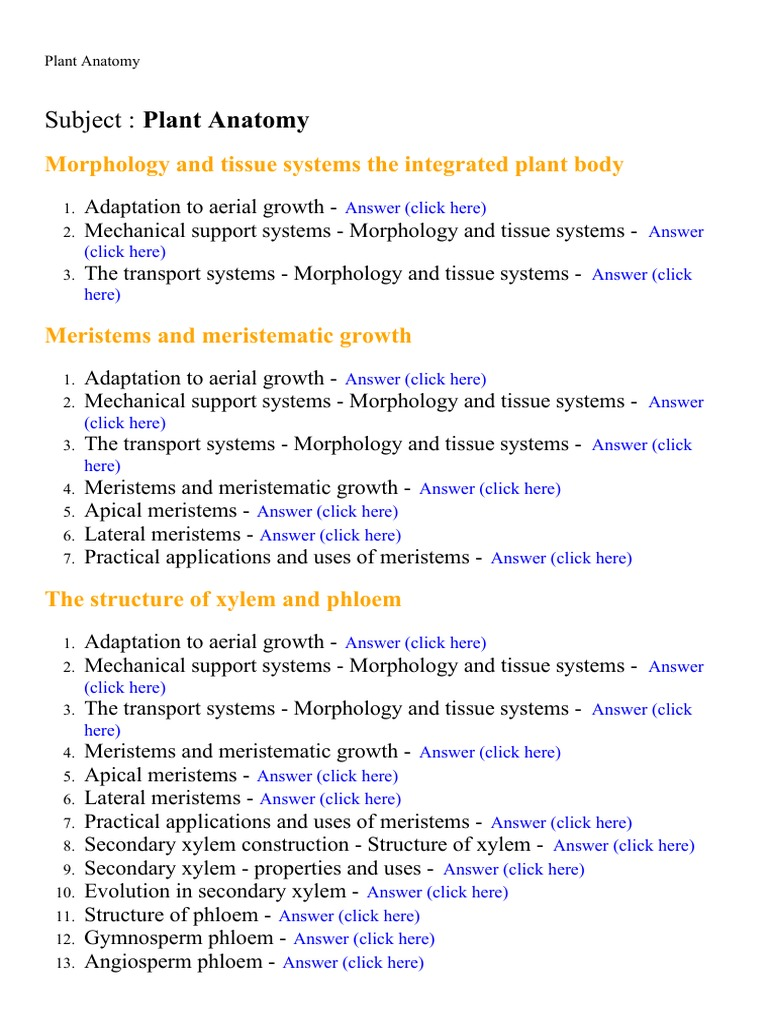 Plant Anatomy - Lecture Notes, Study Material and Important ...