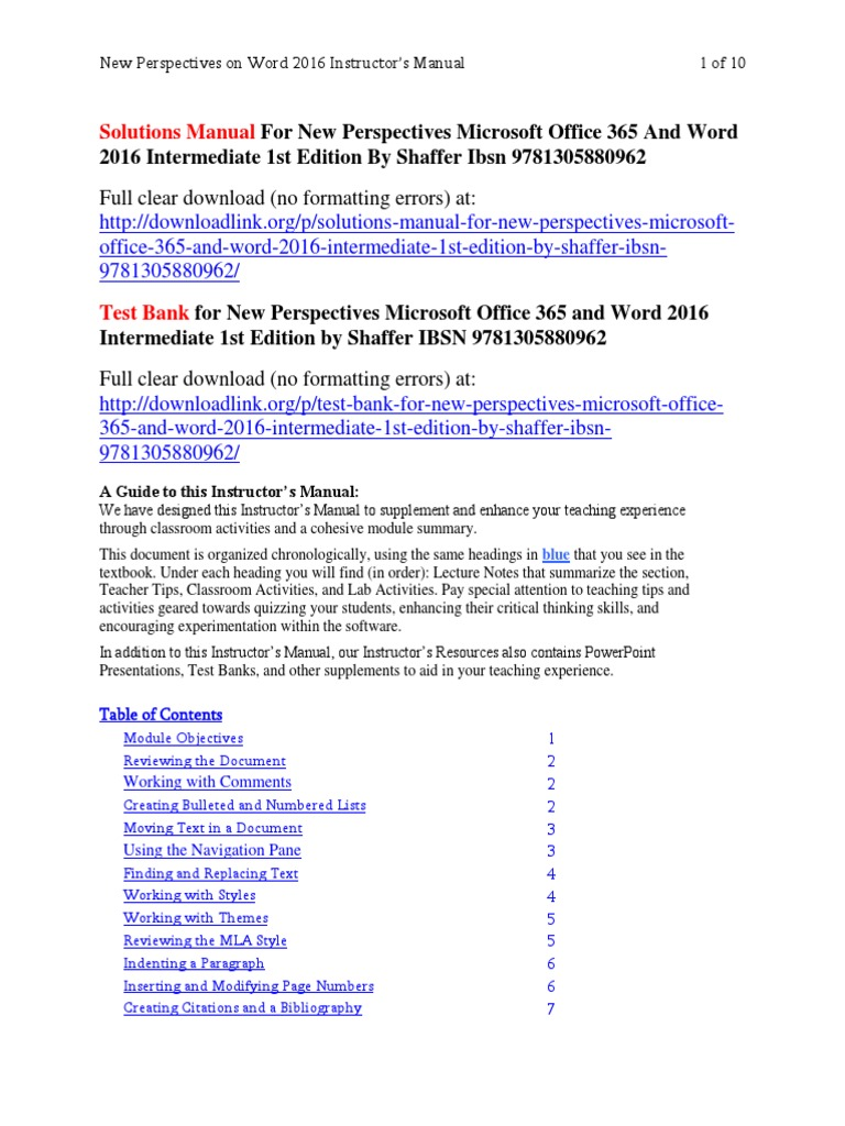solutions manual for new perspectives microsoft office 365 and word