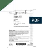 EdExcel a Level English Literature Unit 5 Paper 1 Jun 2007