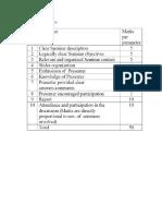 seminar Evaluation Parameters