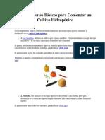 Componentes Básicos Para Comenzar Un Cultivo Hidropónico