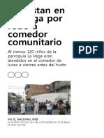 Protestan en La Vega Por Robo a Comedor Comunitario