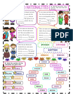 Worksheet Nationalities and Countries