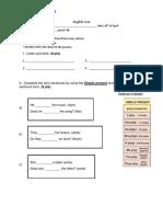English Test 7mo Evaluacion Diferenciada