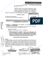 Resolución Legislativa que modifica el Reglamento del Congreso para transparentar la gestión de intereses en el Congreso de la República