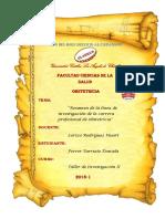 Resumen de La Línea de Investigación de La Carrera Profesional de Obstetricia Pre