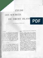 1951 Nouvelle Étude Des Sources Du Droit Islamique