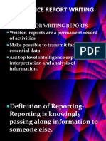 Intelligence Report Writing
