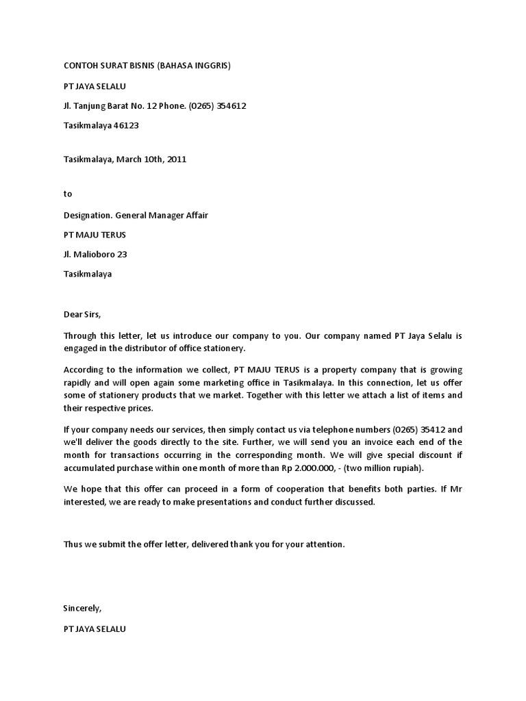 Contoh Surat Bisnis Dalam Bahasa Inggris Indonesia Business