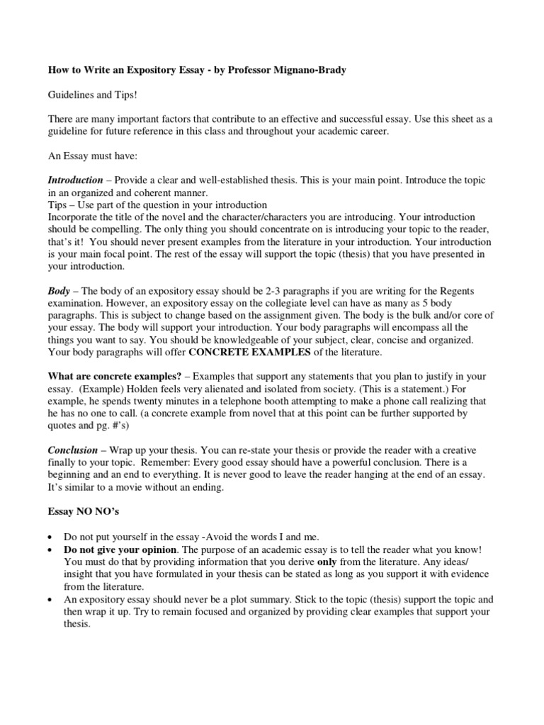 How to Write an Expository Essay College   Essays   Thesis
