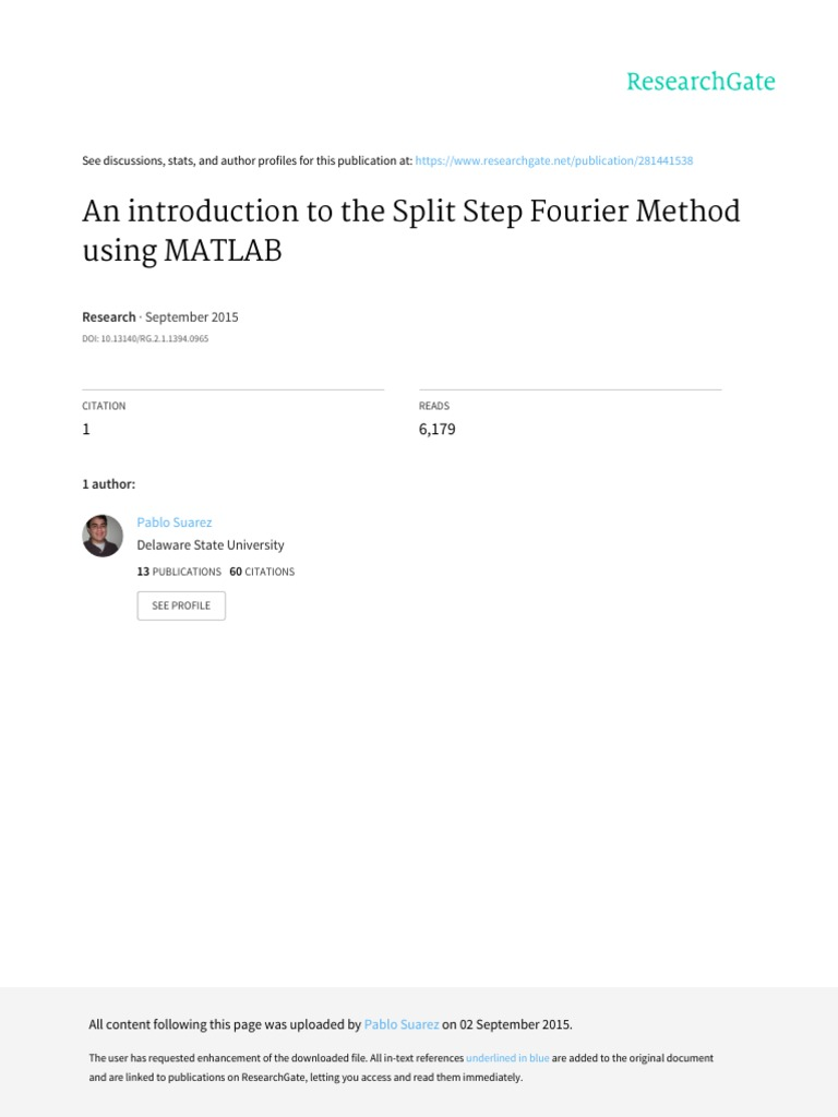 An Introduction to the Split Step Fourier Method Using MATLAB