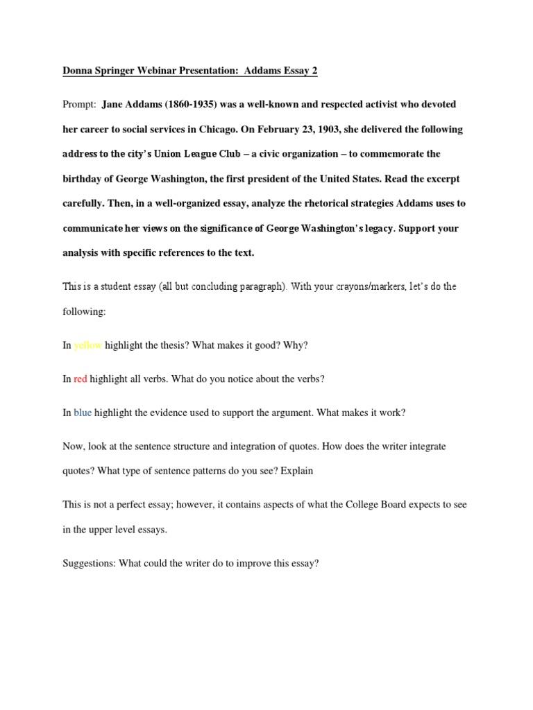 springer presentation addams essay   george washington  essays