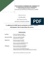 Thèse de Omar BENAICHA La Diffusion de La RSE Dans Les Entreprises Au Maroc Facteurs Détermnants Rôles Et Interactions Des Acteurs