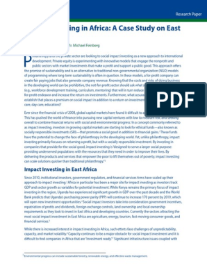 Impact Investing in Africa: A Case Study on East Africa