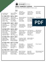 May 5, 2018 Yahrzeit List