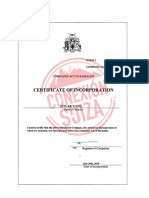 Certificado de registro de la compañía Jetcar V, INC en Barbados