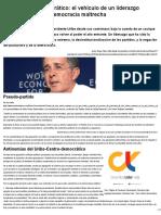 Duque Daza, Javier. Uribe Centro Democrático. El Vehículo de Un Liderazgo Caudillista, En Una Democracia Maltrecha