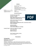 resume for e p evans august 2017