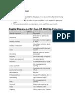 start up cost worksheet