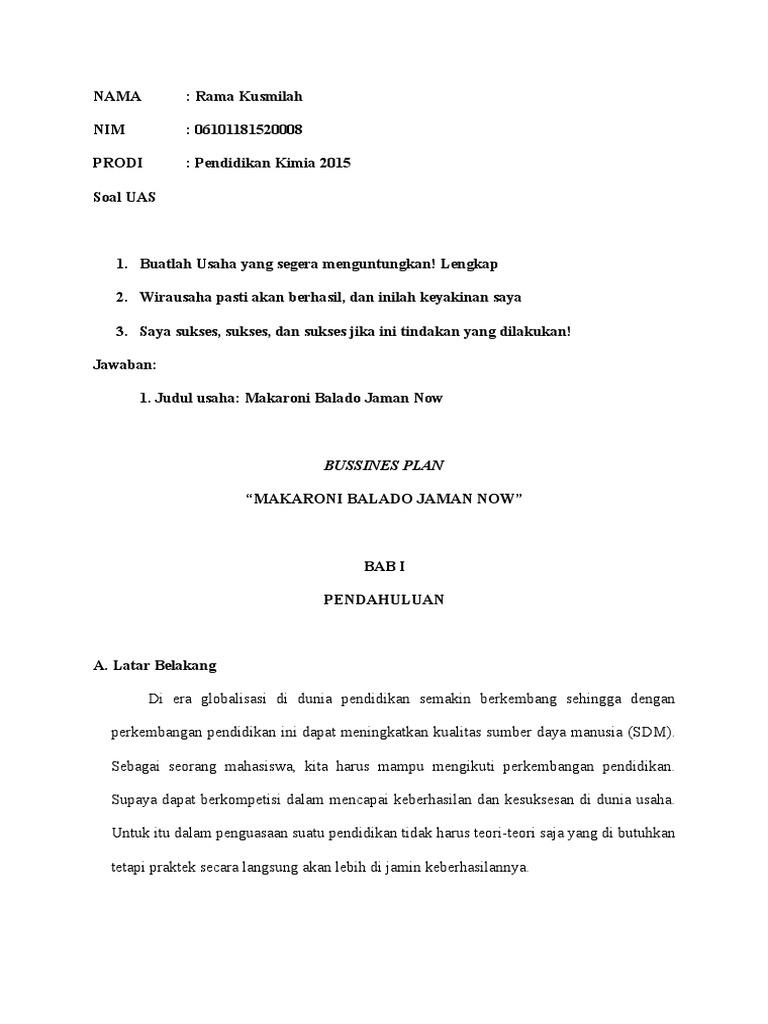 Proposal Makaron Balado Jaman Now