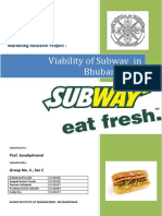 Viability of Subway Franchise in Bhubaneswar - Final