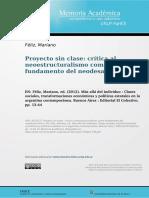 Feliz Mariano - Proyecto Sin Clase Critica Al Neoestructuralismo