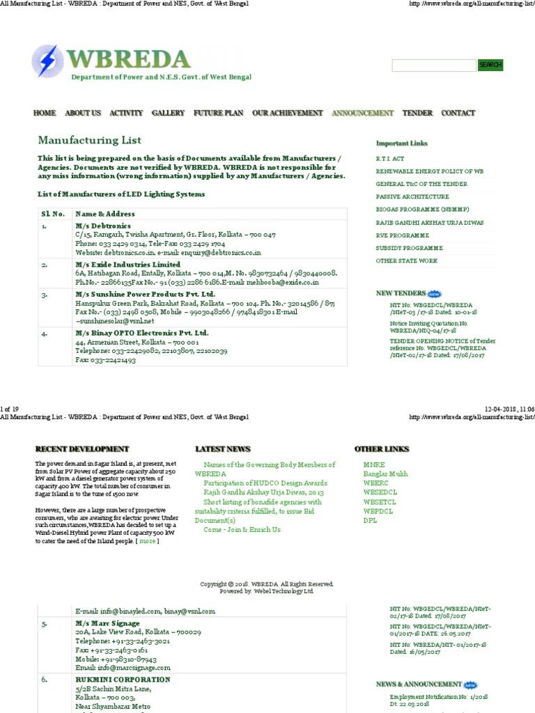 Manufacture list pdf