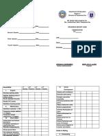 Progress Report Card