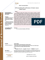 A simple SSM model for predicting the performance of maize crop in Khash region