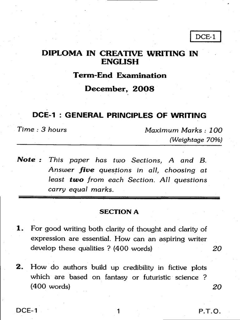 diploma in creative writing in english dce ignou