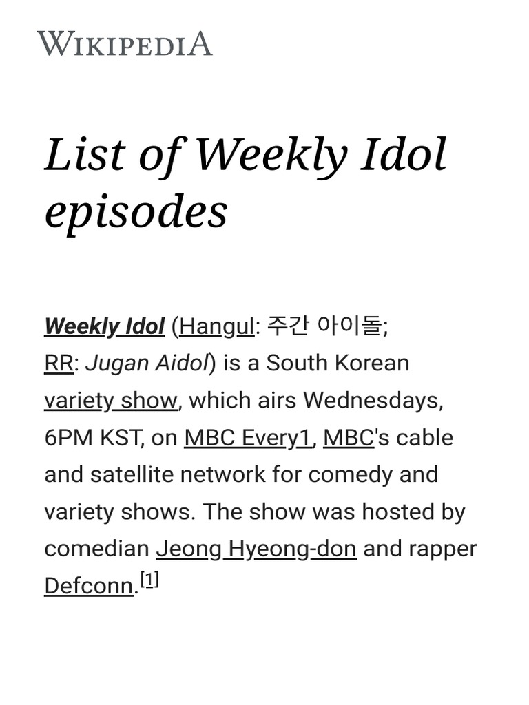 List of Weekly Idol Episodes - Wikipedia