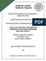 Agua, Naturaleza y Materiales Constructivos como Expresión Arquitectónica