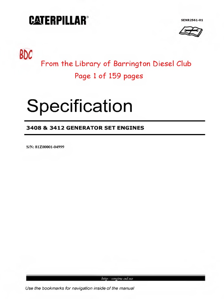 Caterpillar 3408 3412 Specification Manual Abby | Cylinder